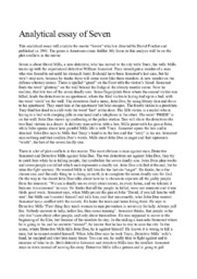 Analytical essay of Seven