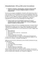 Arbejdsløsheden i DK og USA under Coronakrisen