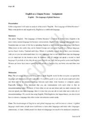 English as a Lingua Franca | Assignment