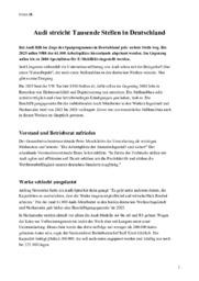 Audi streicht Tausende Stellen in Deutschland | Tysk Opgave