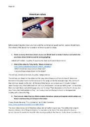 American values   Engelsk Noter