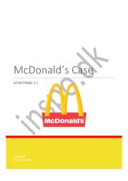 McDonald's Case   Afsætning