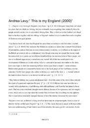"""Andrea Levy:"""" This is my England (2000)"""""""