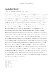 I Break for Traditional Marriage   Analytical Essay
