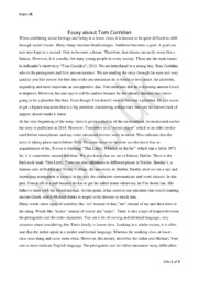 Tom Corridan   Essay Analyse