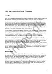 Civil War, Reconstruction & Expansion | Engelsk