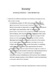 Society | Anthony Giddens | Late Modernity | Samfundsfag