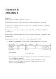 Matematik B Aflevering 1 | Forskellige opgaver