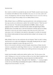 Racism | Analytical essay | 10 i karakter