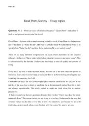 Dead Poets Society & Carpe Diem | Essay | Engelsk opgave