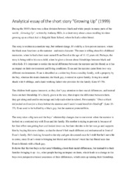Growing Up   Analytical essay   Engelsk opgave