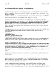 Joe Biden Acceptance Speech | Analytical essay