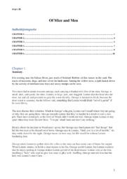 Of Mice of Men   Summary Chapter 1-6 & Personkarakteristik