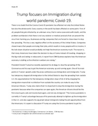 Trump Immigration during world pandemic Covid-19 | Essay