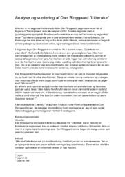 "Analyse & vurdering af Dan Ringgaard ""Litteratur"""