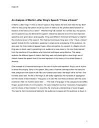 Analysis of Martin Luther King's Speech I Have a Dream