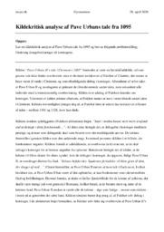 Kildekritisk analyse af Pave Urbans tale fra 1095 | Opgave