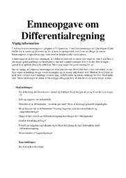 Differentialregning | Emneopgave