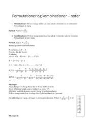 Permutationer og kombinationer | noter