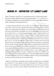 Burma reporter i et lukket land – Analyse af dokumentarfilm | Mediefag