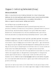 Opgave 2   Individ og fællesskab (Essay)   10 i karakter