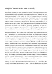 Analyse af reklamefilm | Den første dag