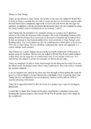 Tribute to Alan Turing | 10 i karakter