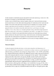 Resume   Analyse   Pernille Brams   10 i Karakter
