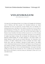 Volkswagen | Eines Globalen deutschen Unternehmens | Tysk