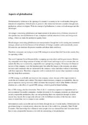 Aspects of globalisation   10 i karakter