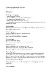 Social psykologi | Noter