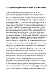 Mittagspause von Wolf Wondratschek | Analyse | 10 i karakter