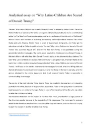 Latino children are scared of Donald Trump   Analytical essay