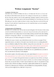 'Karma' by Khushwant Singh   Analytical essay