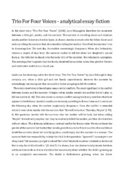 Trio For Four Voices   analytical essay fiction   12 i karakter