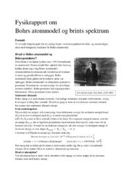 Bohrs atommodel og brints spektrum | Fysikrapport