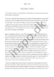 """School Run"" | Engelsk essay"