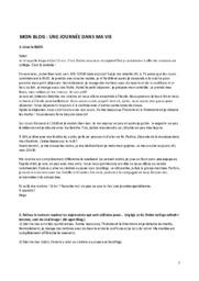Fransk Blogindlæg   Une journee dans ma vie   12 i karakter