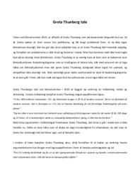 Tale | Analyse | Greta Thunberg | 10 i Karakter