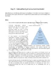 Noter Kapitel 9 – Købsadfærd på konsumentmarkedet