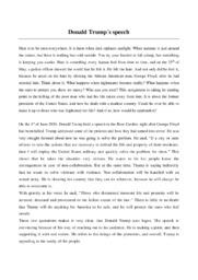 Donald Trump's speech   Analytical essay   10 i karakter