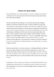 Pleasure isn't always healthy   Essay   Noter