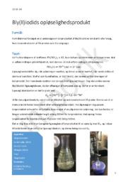 Bly(II)iodids Opløselighedsprodukt | Kemi Rapport