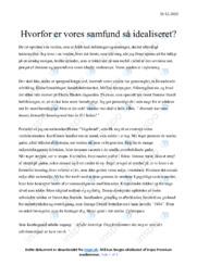 Vores samfund er så idealiseret | Dansk Essay | 10 i Karakter