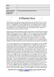 'A Wasted Hour' | Analytical essay