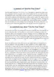 'Trio For Four Voices'   Analytical essay