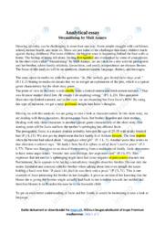 'Streamlining' | Analytical essay | 10 i karakter