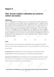 Sociale mediers indflydelse på relationer mellem…   Analyse