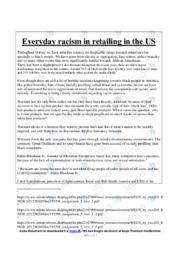 Everyday racism in retailing in the US | Essay | 10 i karakter