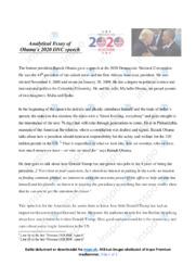 Analytical Essay of Obama's 2020 DNC speech | 10 i karakter